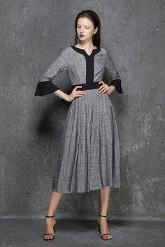 Diese Herkunft und Jahrgang inspiriert Maxi Kleid in Handarbeit in einer grauen Farbtönen, Funktionen passen und flare Form, drei Viertel Ärmel, und die