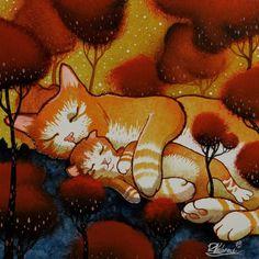"""Sweet dream cat"" Peinture de Raphaël Vavasseur."