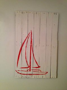 Sailboat Wall Hanging 40 x 26 by WoodburyCreek on Etsy, $40.00