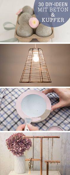 30 DIY-Ideen mit Kupfer und Beton / 30 diy ideas, using concrete and copper via DaWanda.com