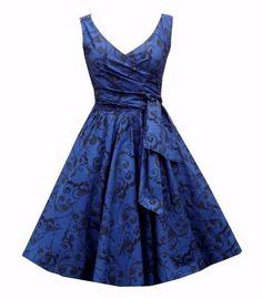 Blue floral 50's full skirt dress design and print by Julie Rojas sold by Lollipop Vintage