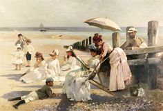 On the Shores of Bognor Regis Alexander M. Oil on canvas. William Halford and his family pose for an informal portrait on the beach of Bognor Regis with reading. Art Plage, People Reading, Bognor Regis, Wall Murals, Wall Art, Beach Art, Seaside Art, Beautiful Paintings, Beach Paintings