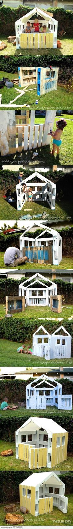 Ted's Woodworking Plans - c projet cabane pour baby Noé. quand il sera plus grand :-) Get A Lifetime Of Project Ideas & Inspiration! Step By Step Woodworking Plans Outdoor Projects, Pallet Projects, Diy Projects, Project Ideas, Pallet Ideas, Furniture Projects, Kids Furniture, Simple Playhouse, Pallet Playhouse