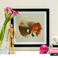 Snow Fox // Black // Framed