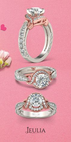 Knot Two Tone Halo Round Cut Created White Sapphire Engagement Ring #Jeulia