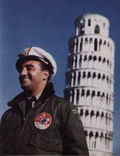 /Pilots Of First Brazilian Fighter Squadron Pause In Front Of The Leaning Tower Of Pisa While Sightseeing During Their Stay In Italy.