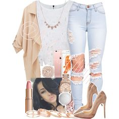 A fashion look from October 2015 featuring sleeveless tank tops, beige blazer and high waisted distressed jeans. Browse and shop related looks.
