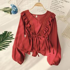 Drawstring Sash Ruffles Women Blouse, wine red / One Size Vintage Tops, Blouse Vintage, Vintage Style, Mode Abaya, Mode Hijab, Cute Blouses, Blouses For Women, Look Fashion, Fashion Outfits