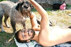 men with beards with dogs
