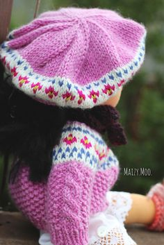 Ravelry: maizymooknits' fair isle beret for dolls shown on a doll by winterludes color chart for beret from the tell me momma pattern by Winterludes