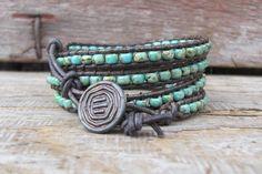 Wrap Bracelet, Boho Wrap Bracelet, Beaded Leather 4x Wrap bracelet