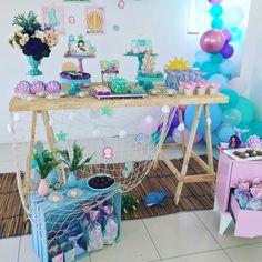 Mermaid Birthday Party Decorations Diy, Mermaid Birthday Cakes, Little Mermaid Birthday, Mermaid Parties, Mermaid Baby Showers, Baby Mermaid, Happy Party, Party Themes, Creations