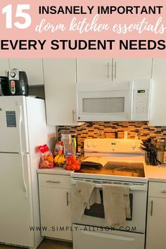 Don't know what to buy for your dorm kitchen? Here is the ultimate dorm kitchen essentials list including appliances and organization ideas. Kitchen Essentials List, Kitchen Necessities, Room Essentials, Dorm Room Organization, Organization Ideas, Dorm Room Layouts, Dorm Kitchen, College Dorm Essentials, Diy