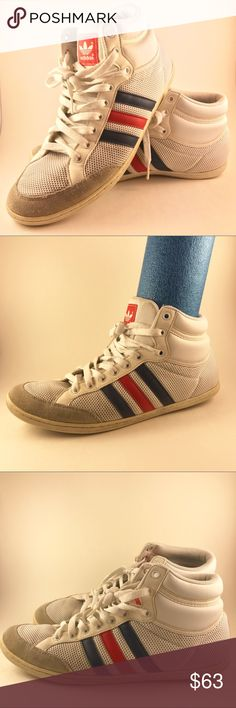 Adidas - Old School Classic Stripe High Tops 9.5 Adidas - classic high tops with blue and red strips. These have been worn, but still have many miles left in them. Some cosmetic wear such as some stains and yellowing, but really it makes them look vintage and fly as hell. They have been cleaned. Please see photos for wear. Size 9.5. Thanks! adidas Shoes Sneakers