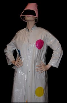 60s Mod White Shiny Vinyl Raincoat w/ Clear Vinyl Peek-a-Boo Windows in Pink Blue and Yellow / 1960s Mod Vinyl Twiggy Era Rain Slicker