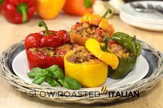 30 Minute Cheesy Stuffed Peppers - http://www.parade.com/13913/donnaelick/30-minute-cheesy-italian-stuffed-peppers/