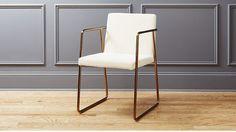 rouka white velvet chair | CB2