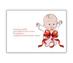 Liebevolle Babykarte mit Baby in großer Schleife: Erträumt, erhofft... - http://www.1agrusskarten.de/shop/liebevolle-babykarte-mit-baby-in-groser-schleife-ertraumt-erhofft/