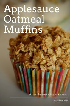 Applesauce Oatmeal Muffins are a great snack that you can pack in bookbags and lunchboxes. - Muffins - Ideas of Muffins Homemade Cake Recipes, Apple Recipes, Baking Recipes, Dessert Recipes, Snack Recipes, Chili Recipes, Cupcakes, Cupcake Cakes, Healthy Baking