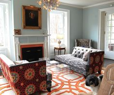 Steven Favreau contemporary living room - bold fabrics in a beautifully colored neutral room.