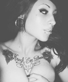 female, body, tattoo, black, white, portrait