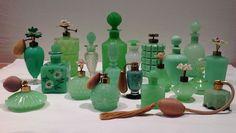 Collection of 20 Rare Vintage Jadite / Jadeite Perfume Cologne Bottles Antique Perfume Bottles, Vintage Perfume Bottles, Bottles And Jars, Glass Bottles, Green Milk Glass, Vintage Dishware, Vintage Kitchen, Antique Glass, Decoration