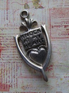 """Sterling Mechanical Door Knocker Charm """"Knock at my Heart"""", For Love"""