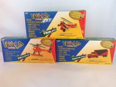 Set Of 3 Wood Toy Models Biplane Helicopter Tractor Trailer Model Kit