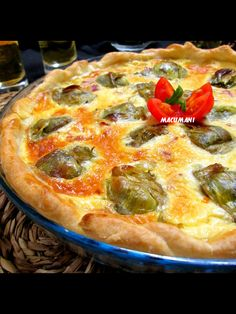 Quiché de alcachofas y jamón serrano Quiches, Savory Tart, Quiche Recipes, Empanadas, Vegetable Pizza, Food And Drink, Favorite Recipes, Cooking, Breakfast