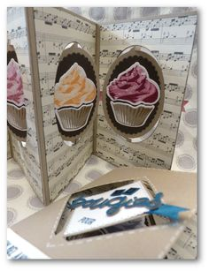 Sophie Prestrelle: Coul'Heure Paper: Card Accordion ... and Cupcakes !! [Tutorial] - 6/29/16.  (SU: Stamps-Sweet Treats, Designer Tin of Cards, Labeler Alphabet. Dies-Ovals, Squares).  (Pin#1: Cakes... Pin+: Folds...Tutorial; Flip-It...; Music...).