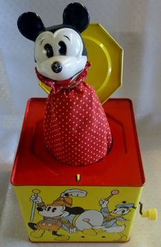 Vintage Disney Mickey Mouse Carnival Jack in the Box Metal Tin