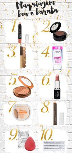 Top 10 maquiagem barata e boa por até R$25,00: pra encher a necessaire de…