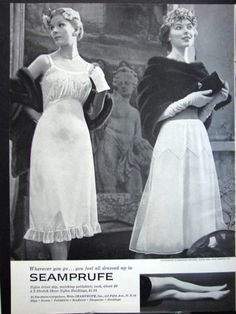 Oops, these ladies seem to have forgotten a very important item of clothing before they went out in their furs in this 1950s SEAMPRUFE SLIP Pettiskirt & Nylons Stockings Winter FURS Vintage Print Ad !