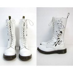 Dr. Martens White Leather Rose Cut Out 14 Eye Boots Tall Chunky 90s... ($135) ❤ liked on Polyvore featuring shoes, boots, combat boots, white lace up boots, army combat boots, military combat boots and combat booties