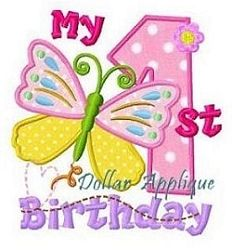 My 1st Butterfly Birthday Applique - 3 Sizes! | What's New | Machine Embroidery Designs | SWAKembroidery.com Dollar Applique