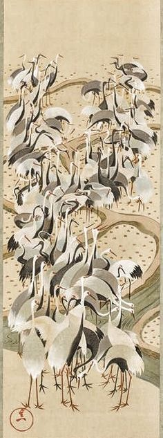 Cranes scroll. c. 1844–1858, by Suzuki Kiitsu (1796–1858). Japan. One of a set of three hanging scrolls (the Seven Lucky Gods Jurojin, deer, and cranes). Larry Ellison Collection