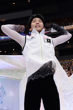 Yuzuru Hanyu of Japan reacts after seeing his score during ISU World Figure Skating Championships at Saitama Super Arena on March 28, 2014 in Saitama, Japan.