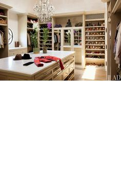 Supermodel Gisele has an unbelievable walk in wardrobe - the storage ideas are great if you have a lot of shoes.