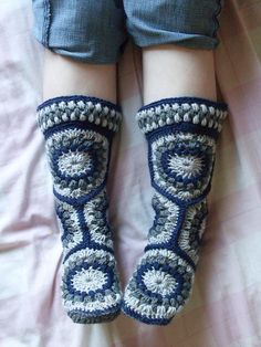Ravelry: Project Gallery for Hexagon Boot Slippers pattern by Priscilla Hewitt  free pattern