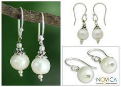 Sterling Silver 'Mumbai Moonlight' Pearl Earrings (10 mm) (India) | Overstock.com Shopping - The Best Deals on Earrings
