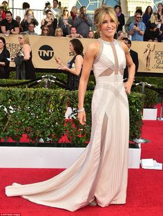 All about the detail: Felicity Huffman was in fine form in a beautiful white Antonio Grima...
