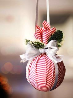 DIY fabric covered foam ball ornaments. Could be cute in mix and match prints.