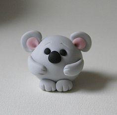 Round Koala Bear (fliepsiebieps_) Tags: bear pink sculpture cute grey miniature handmade gray australian australia polymerclay koala round kawaii figure figurine