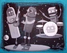 EL GATO GOMEZ PAINTING RETRO 1960S 1950S ROBOT BAND OUTER SPACE SHIP SCI-FI  #Modernism