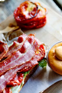The Ultimate BLT-sandwich with roasted tomatoes and smoked chilli Aioli.