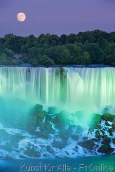 Beauty from both the waterfall and the moon!