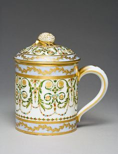 """1780-1785 French Sèvres Covered cup at the Fitzwilliam Museum, Cambridge - From the curators' comments: """"Jewelled enamelling is recorded as being introduced by Philippe Parpette, a flower painter, and Joseph Cotteau, an enameller in 1778. Parpette worked mainly on this type of decoration between 1780-5. The latter left the factory in 1784, and after 1786 this type of decoration was rarely executed. The decoration of this 18th century set, however, may have been applied in the 19th century."""""""
