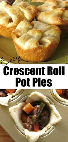 Easy Crescent Roll Pot Pies with beef and veggies in red wine sauce! Simple to make using Pillsbury crescent rolls to make the crust. Kids and adults will love these! appetizers crescent rolls Mini Beef Pot Pies with Crescent Rolls Pillsbury Crescent Roll Recipes, Recipes Using Crescent Rolls, Pillsbury Recipes, Peach Crescent Rolls, Cresent Roll Appetizers, Chicken Crescent Rolls, Cresent Rolls, Croissant, Beef Recipes