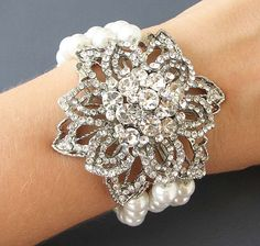 Bridal Jewelry Pearl Cuff Bracelet Bridal Wedding by zafirenia