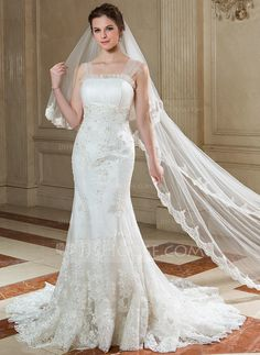 [CA$ 68.82] Two-tier Chapel Bridal Veils With Lace Applique Edge (006040682)